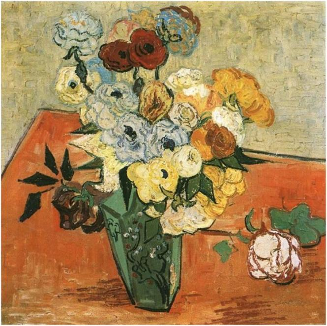 Vincent van Gogh, Still Life: Japanese Vase with Roses and Anemones, 1890